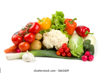 Set of different vegetables isolated on white