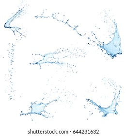 Set of different water splashes on white background