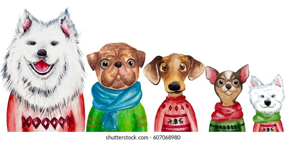 Set of different watercolor dogs in sweaters. 2018 Chinese New Year of the dog. Christmas greeting card