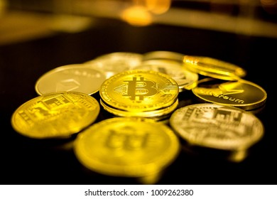 Set of digital coins bitcoin, litecoin, ethereum