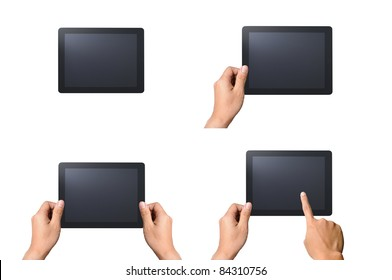 Set of digital tablet pc with man hands. Isolated on white