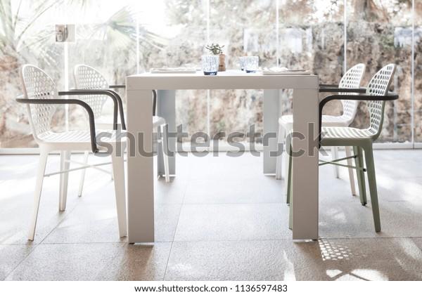 Pleasant Set Dining Table Chairs Against Bright Stock Photo Edit Now Creativecarmelina Interior Chair Design Creativecarmelinacom