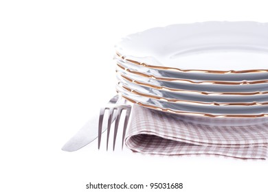 Set of dish, fork, knife, napkin on the white. With sample text