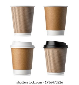 set of disposable paper cups isolated on white background with clipping path