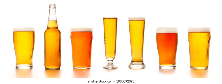 Set of diverse beers in different glasses for clients. Bottle, glass, tall glasses with light tasty cold ale and lager, isolated on white background, empty space, studio shot, panorama, mockup - Shutterstock ID 1983092393