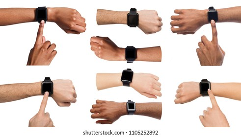 Set of diverse hands using and pointing on smart watch, isolated on white background, copy space