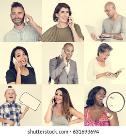 Set of Diverse People With Telephone Communication Studio Collage