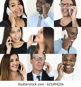 Set of Diverse People Using Smart Phone Studio Collage