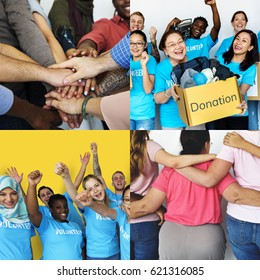Set of Diverse Volunteer Donation People Studio Collage