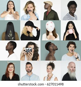 Set of Diversity People Face Expression Lifestyle Studio Collage