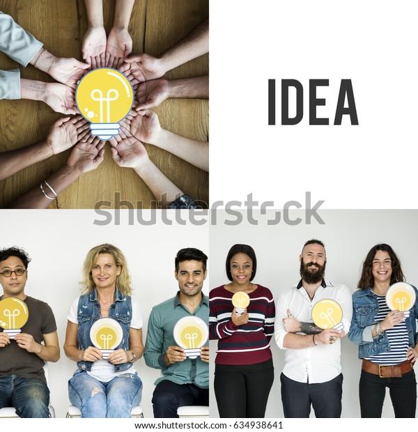 Set of Diversity People Holding Light Bulb Studio Portrait