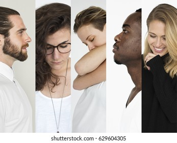 Set of Diversity People Life Motivation  Studio Collage