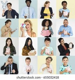Set of Diversity People with Money Savings Future Plan Studio Collage