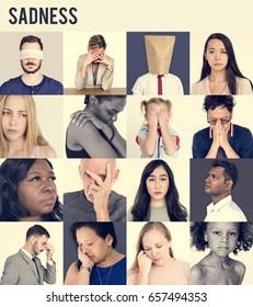 Set of Diversity People Sad Face Expression Emotion Studio Collage