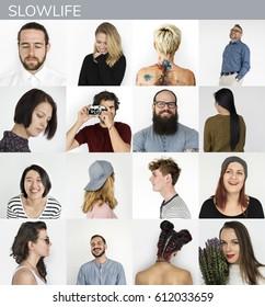 Set of Diversity People Slow Lifestyle Studio Collage
