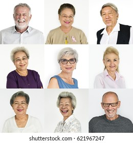 Set of Diversity Senior Adult People Face Expression Studio Collage