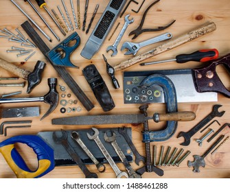A set of DIY & woodwork tools & equipment for home improvement - all used, worn, paint spattered and second hand.