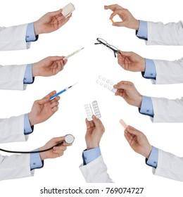 Set of doctor hand with medical tool, isolated on white background