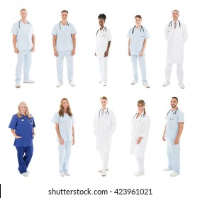 Set Of Doctors With Medical Workers Standing Against White Background