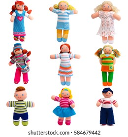 Set of doll isolated on white background.