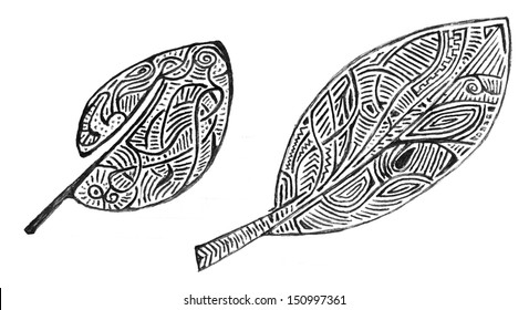 set of doodle drawing leaves isolated on white
