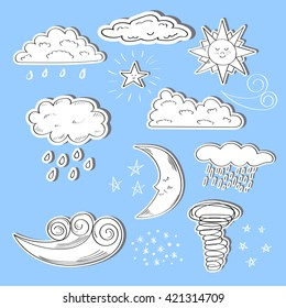 Set of doodle weather icons. Sun, moon, star, clouds and wind isolated on blue background. Raster.