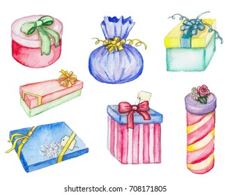 Set of drawing presents in watercolor