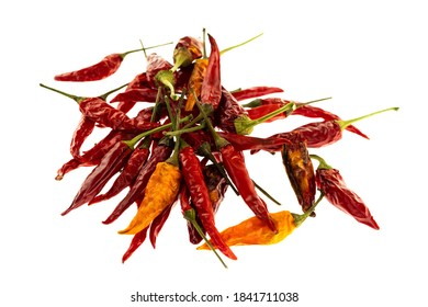 set of dried chili vegetable pod lies a slide on a white background