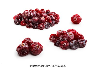 Set of dried cranberries isolated on white. Studio shoot, retouched