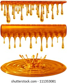 set of dripping and splash golden honey or caramel