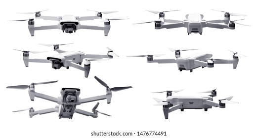 Set of drone isolated on white background