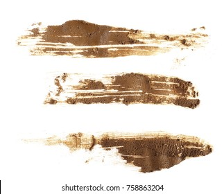set drops of wet mud sprayed isolated on white background and texture, with clipping path