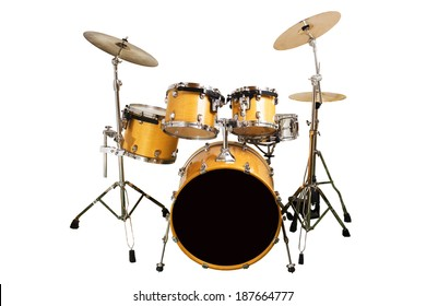 Set of drums isolated with