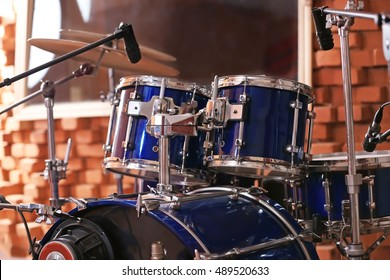 Set of drums in a recording studio