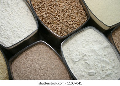 Set of dry food: dust, millet and other cereals