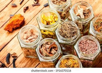 Set of dry medicinal herbs in glass jars.Alternative medicine concept or herbal medicine