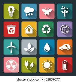 Set of Eco Icons in flat style with long shadows. White crown icons on colored basis. Ecology, Nature, Energy, Environment and Recycle Icons. Raster illustration.