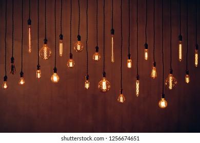 Set edison retro lamp on dark background of different shapes.