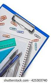 set of education tools on white background.