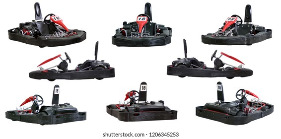 Set of eight images. Kart isolated on white background. Rear view, front and side. No man