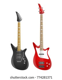 Set of electric guitars and bass isolated on white background