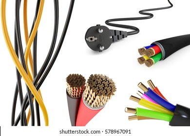 set of electric wires on a white background 3D illustration