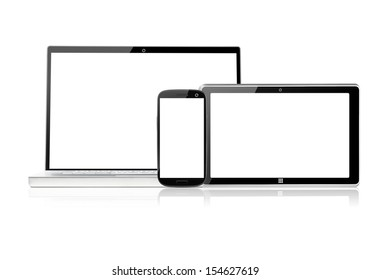 set of electronic devices with blank screens, isolated on white background