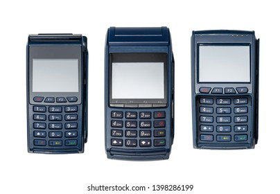 Set of electronic payment terminals. The case is made of blue plastic. Isolated on white.