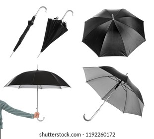 Set with elegant black umbrella from different views on white background