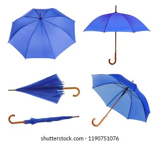 Set with elegant blue umbrella from different views on white background