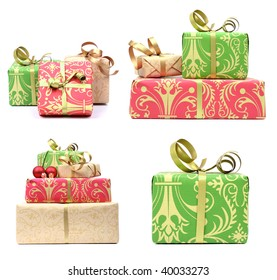 set of elegant gifts  on white background with small shadow