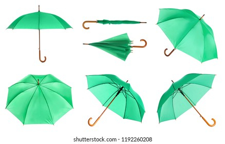 Set with elegant green umbrella from different views on white background