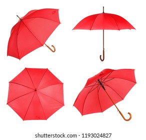 Set with elegant red umbrella from different views on white background