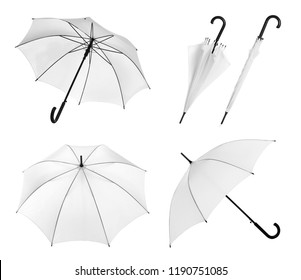 Set with elegant umbrella from different views on white background